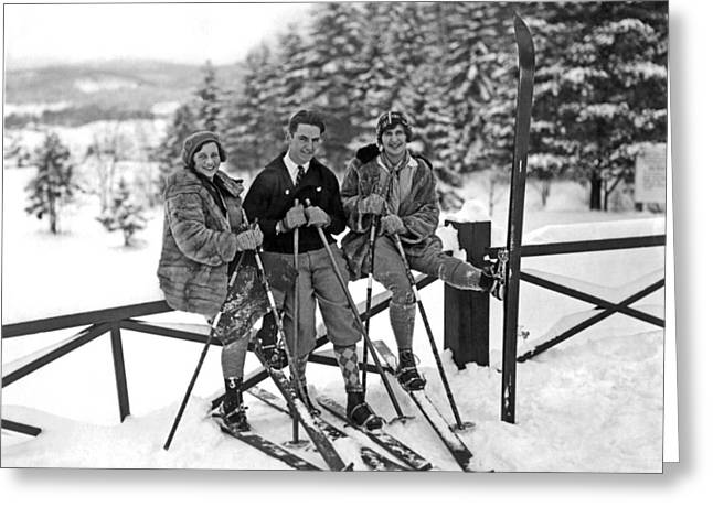 Skiers Takes A Break Greeting Card by Underwood Archives