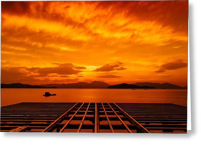 Skies Ablaze - One Greeting Card