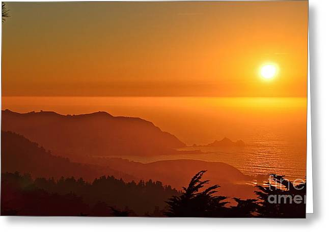 Skies Of Gold At Pedro Point Greeting Card by Amy Fearn