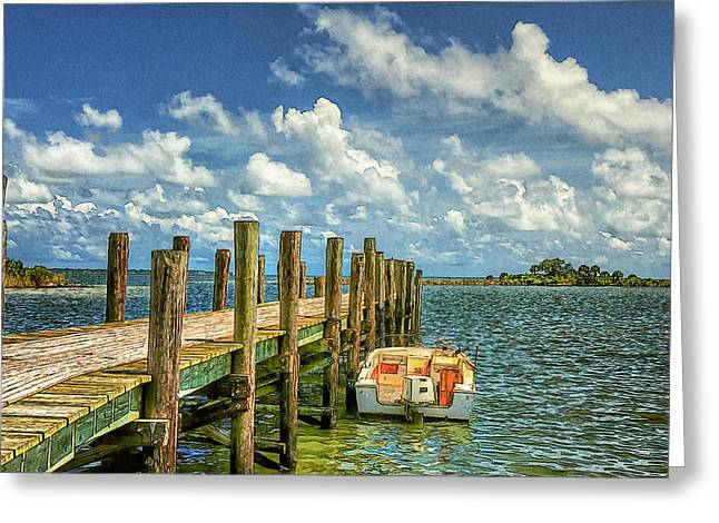 Skiff And Pier Greeting Card
