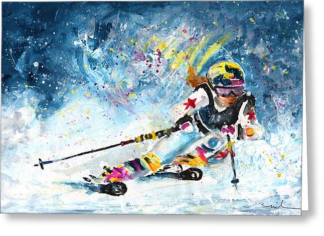 Skiing 03 Greeting Card by Miki De Goodaboom