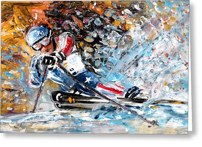 Skiing 04 Greeting Card by Miki De Goodaboom