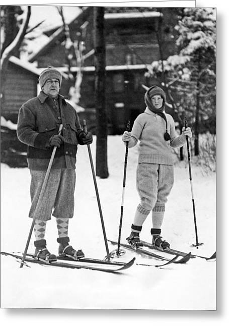 Skiing At Lake Placid In Ny Greeting Card by Underwood Archives
