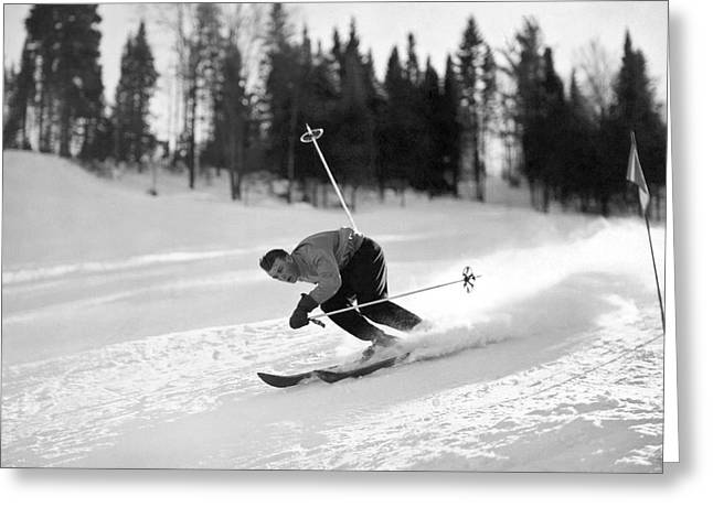 Skiing Hill 70 At St. Sauveur Greeting Card by Underwood Archives