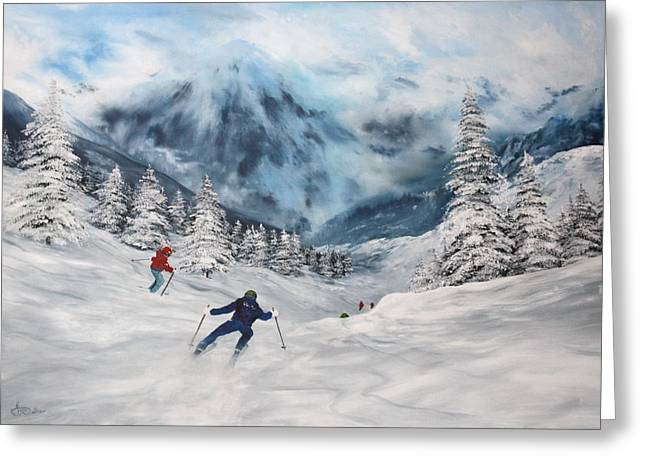 Greeting Card featuring the painting Skiing In Italy by Jean Walker