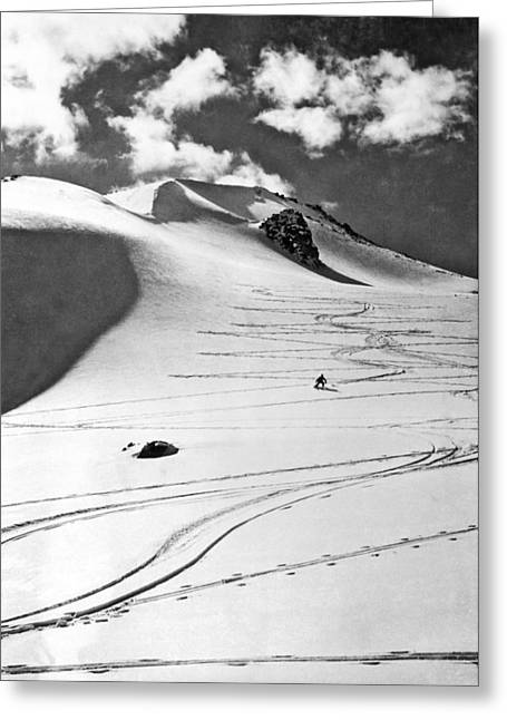 Skiing In The Canadian Rockies Greeting Card by Underwood Archives