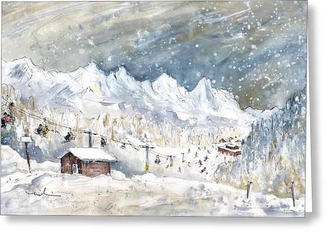 Skiing In The Dolomites In Italy 02 Greeting Card by Miki De Goodaboom