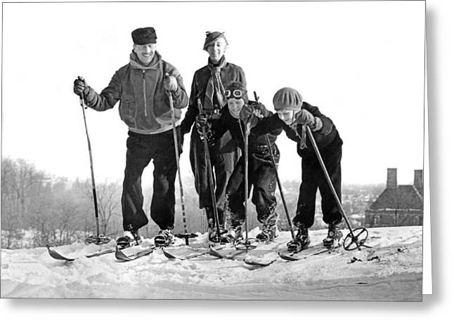 Skiing In Washington D.c. Greeting Card by Underwood Archives