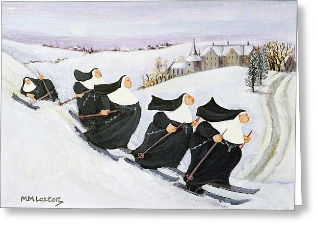 Skiing Greeting Card by Margaret Loxton