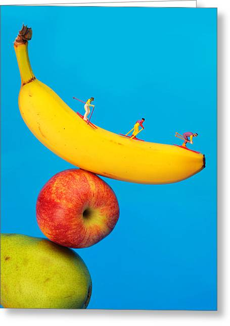 Skiing On Banana Miniature Art Greeting Card by Paul Ge