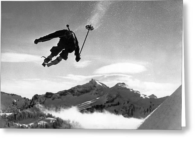 Skiing Over Mt. Ranier Greeting Card by Underwood Archives