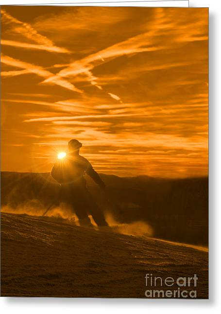 Skiing West Virgina Sunset Greeting Card by Dan Friend