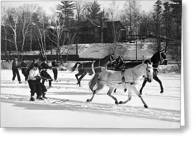 Skijoring At Lake Placid Greeting Card by Underwood Archives