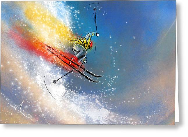 Ski Mixed Media Greeting Cards - Skijumping 01 Greeting Card by Miki De Goodaboom