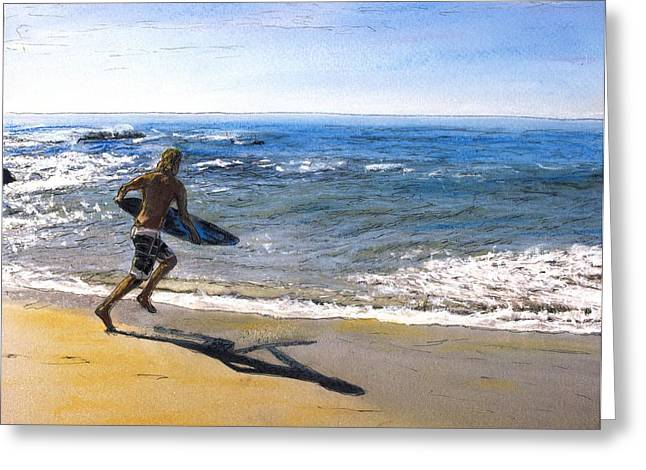 Skim Boarding At Pearl Beach Now Sold Greeting Card