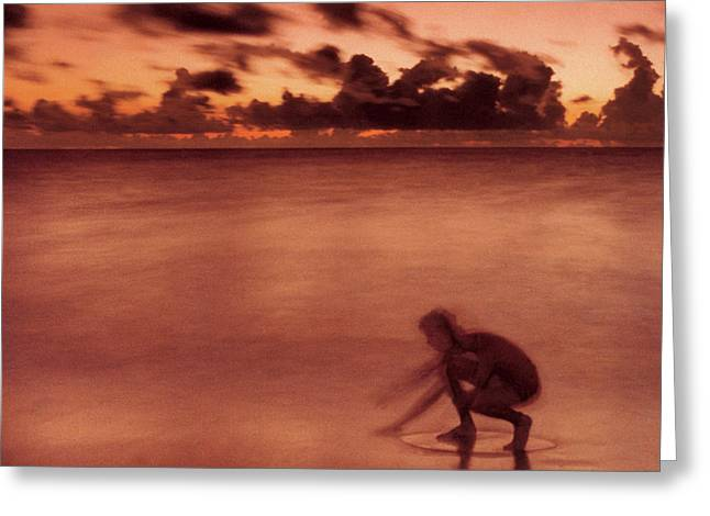 Greeting Card featuring the photograph Skimboarding At Dawn by Timothy Lowry