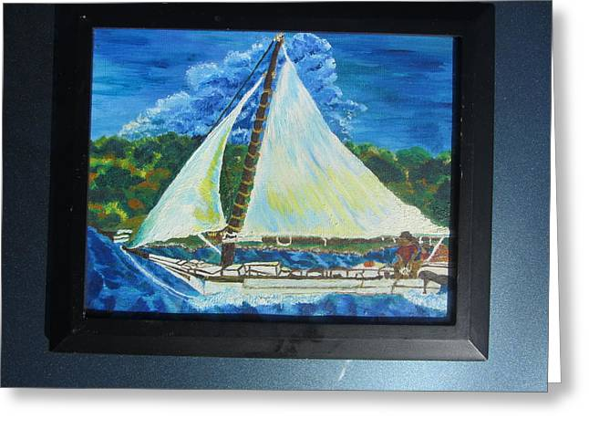 Skipjack Nathan Of Dorchester Famous Sailboat At Sea Greeting Card by Debbie Nester