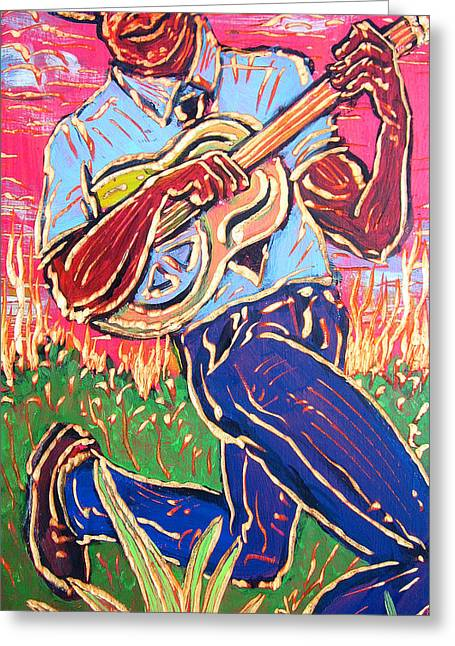Skippin' Blues Greeting Card by Robert Ponzio