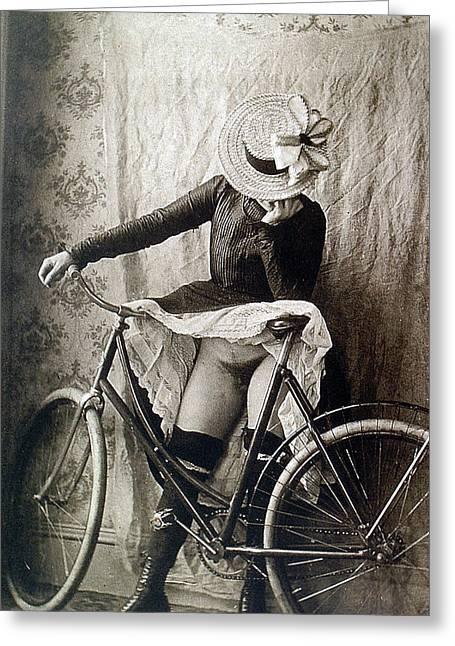Skirt Up Bicycle Rider Greeting Card