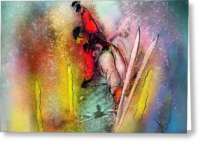 Skiscape 02 Greeting Card by Miki De Goodaboom