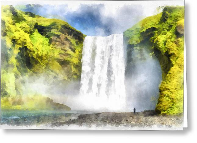 Skogafoss Waterfall Iceland Painting Aquarell Watercolor Greeting Card