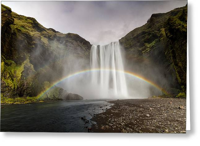 Skogarfoss Waterfall Greeting Card