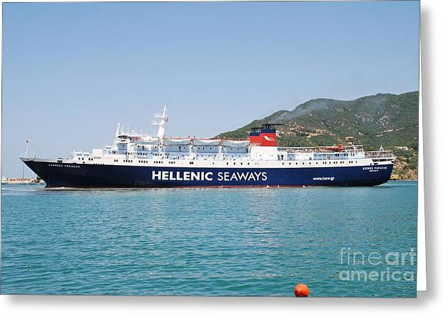 Skopelos Ferry Arrival Greeting Card by David Fowler