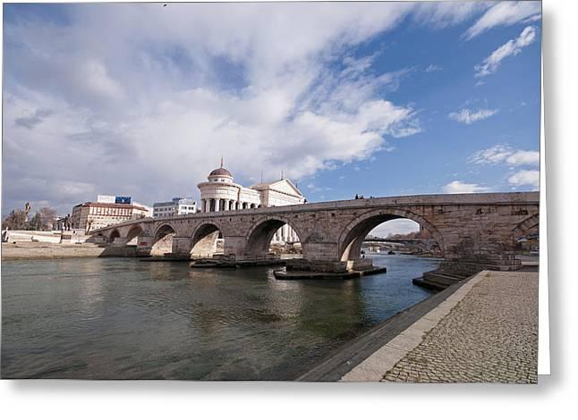 Skopje - Stonebridge Greeting Card by Ivan Vukelic