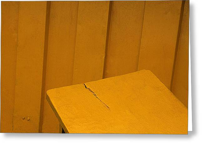 Greeting Card featuring the photograph Skc 1496 A Tea Shack Bench by Sunil Kapadia