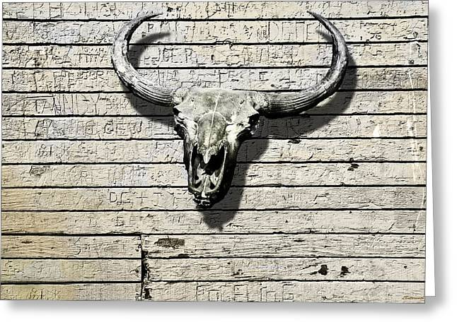 Skull And Horns Greeting Card by Larry Butterworth