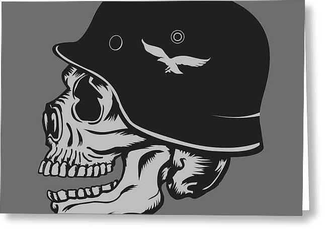Skull Army Helmet Illustration Greeting Card