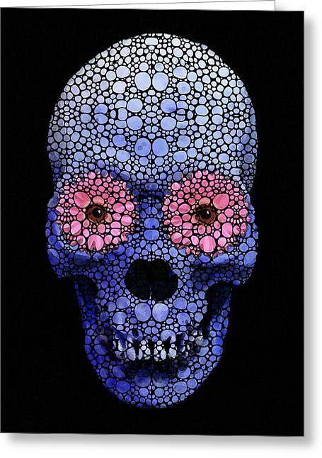Skull Art - Day Of The Dead 1 Stone Rock'd Greeting Card by Sharon Cummings