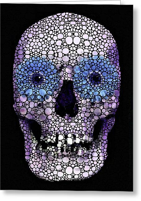Skull Art - Day Of The Dead 2 Stone Rock'd Greeting Card by Sharon Cummings