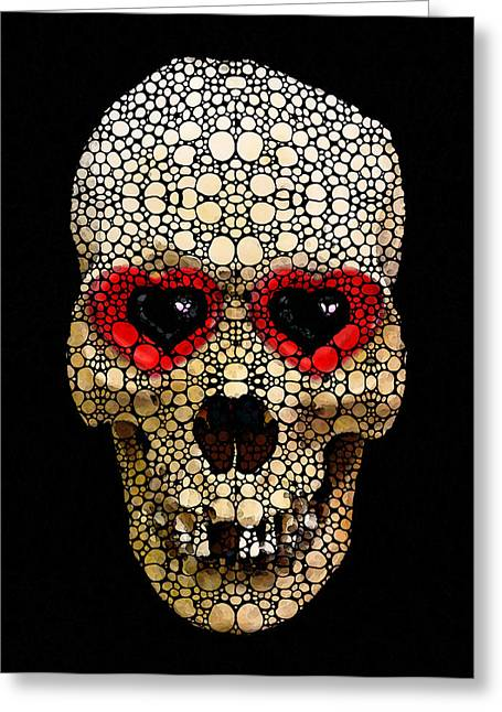 Skull Art - Day Of The Dead 3 Stone Rock'd Greeting Card by Sharon Cummings