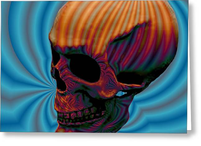 Skull Aura Orange Greeting Card