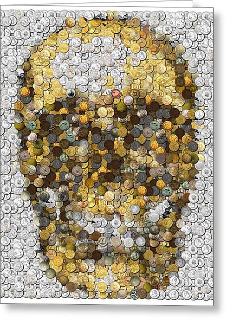 Skull Coins Mosaic Greeting Card by Paul Van Scott