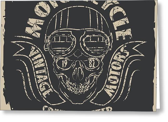 Skull Motorcycle Graphic Design Greeting Card by Lakoka
