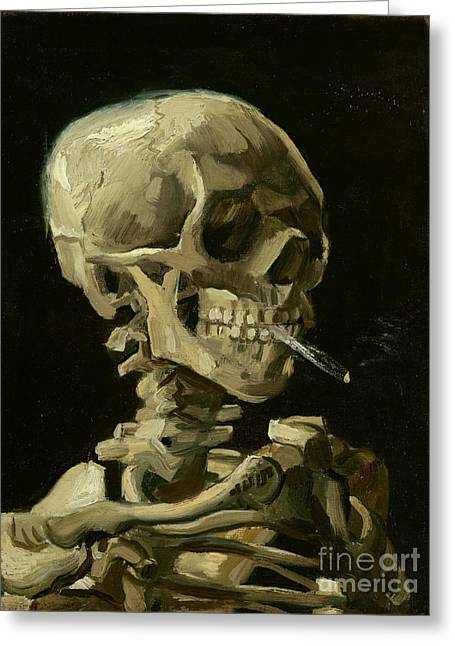 Skull Of A Skeleton With Burning Cigarette  Greeting Card by Vincent van Gogh