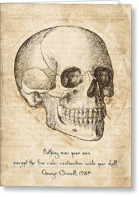 Skull Quote By George Orwell Greeting Card by Taylan Apukovska