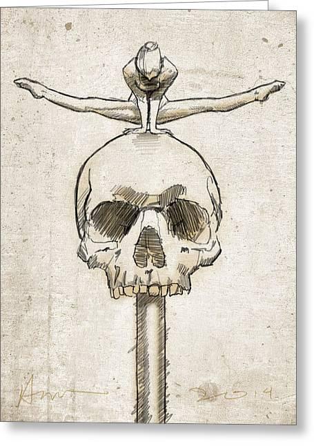 Skull Splits Greeting Card by H James Hoff