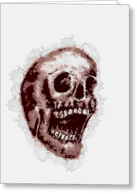 Skull Stain Greeting Card by Penny Ovenden