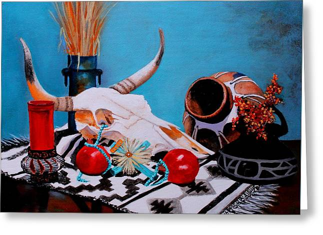 Greeting Card featuring the painting Skull Still Life by M Diane Bonaparte