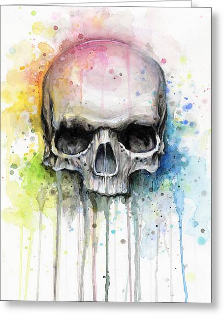 Skull Watercolor Painting Greeting Card