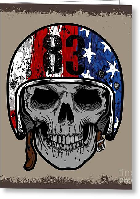Skull With Retro Helmet And American Greeting Card