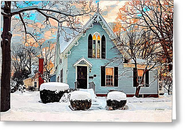 Sky Blue Gingerbread House  Greeting Card by Dorothy Walker
