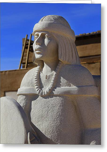 Sky City Cultural Center Statue Greeting Card by Mike McGlothlen