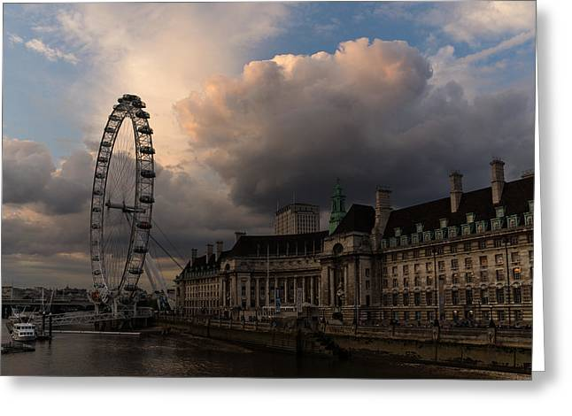 Sky Drama Around The London Eye Greeting Card