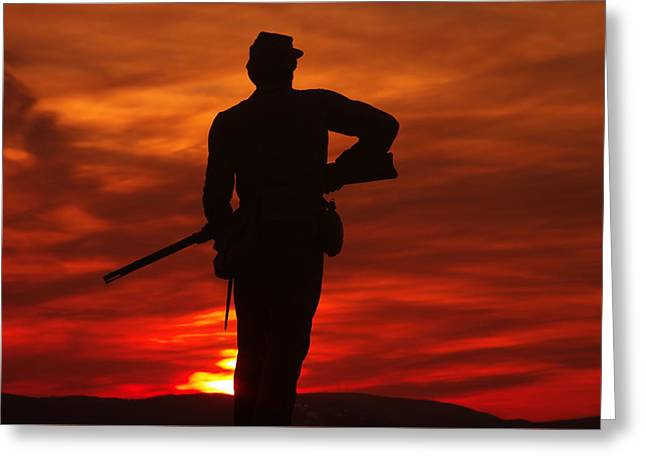 Sky Fire - 111th New York Infantry Hancock Avenue Brian Farm Cemetery Ridge Sunset Winter Gettysburg Greeting Card by Michael Mazaika