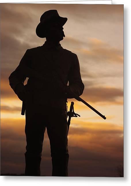 Sky Fire - 2nd Pennsylvania Cavalry Regiment Cemetery Ridge Near Meades Hq Dawn Gettysburg Greeting Card