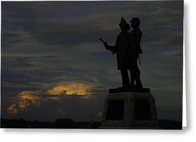 Sky Fire - 73rd Ny Infantry 4th Excelsior 2nd Fire Zouaves - Summer Evening Thunderstorms Gettysburg Greeting Card by Michael Mazaika